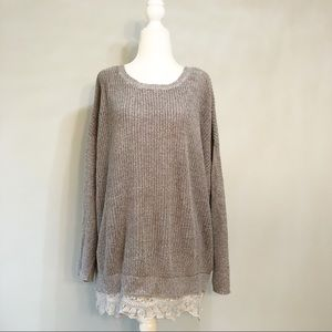 Pins & Needles Lace Trim Oversize Sweater - Grey